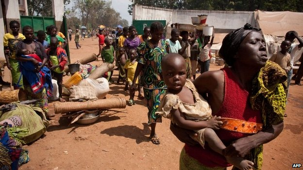 People arriving at a camp near the cathedral in Bossangoa, Central African Republic
