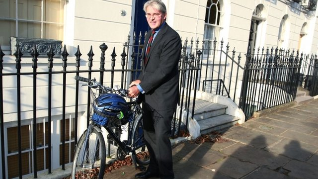 Andrew Mitchell and his bike