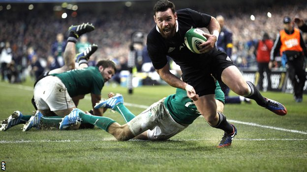 "New Zealand""s Ryan Crotty scores the final try in the dramatic win over Ireland"