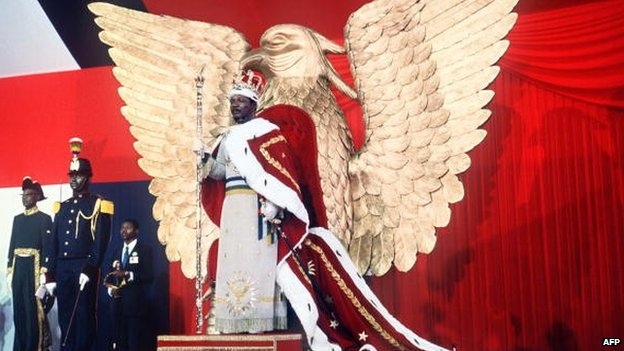 Self-proclaimed emperor of Central African Empire, Jean-Bedel Bokassa on 4 December 1977 on the throne after crowning himself in Bangui, CAR