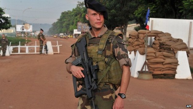 A French soldier at Bangui airport, CAR