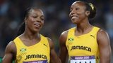 Veronica Campbell-Brown and Sherone Simpson of Jamaica