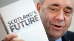 Alex Salmond and copy of Scotland's Future