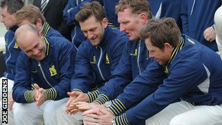 Jonathan Trott, Jim Troughton, Dougie Brown and Ian Bell at Edgbaston