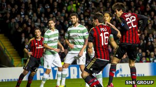 Kaka was given the freedom of Celtic Park to head AC Milan in front on 13 minutes
