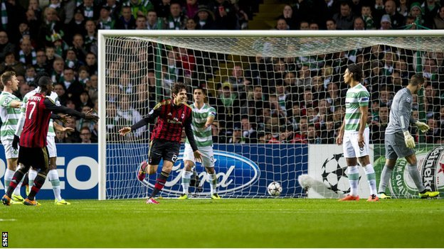 Kaka wheels away after scoring AC Milan's first goal v Celtic