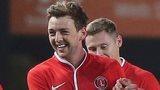 Charlton's Dale Stephen's celebrates the opening goal against Doncaster