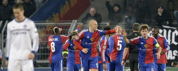 Basel players celebrate the goal from Mohamed Salah against Chelsea