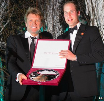 Duke of Cambridge presents Jon Bon Jovi with the Centrepoint Great Britain Youth Inspiration Award