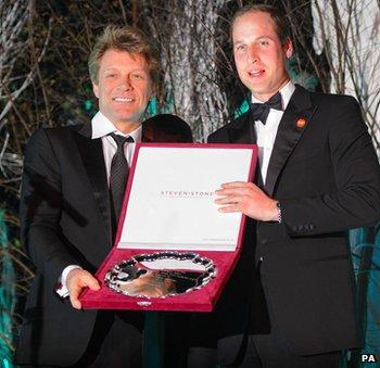 Duke of Cambridge presents Jon Bon Jovi with the Centrepoint Great Britain Youth Inspiration Award
