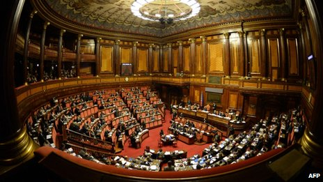 A general view shows the Italian Senate