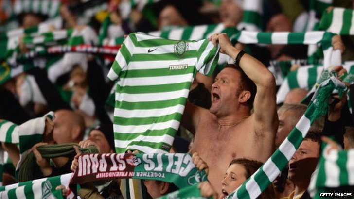 Celtic fans at the end of their team's Champions League home defeat to AC Milan