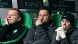 Celtic bench during their 0-3 defeat to AC Milan