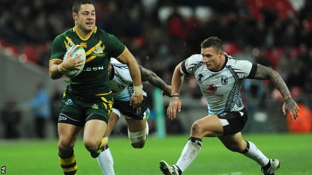 Jarryd Hayne scores a try for Australia against Fiji in their semi-final match