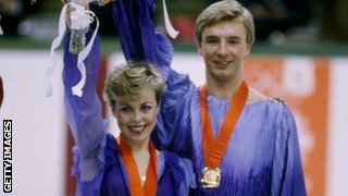 Jayne Torvill and Christopher Dean with their gold medals from the 1984 Winter Olympics