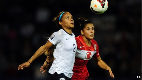 Alex Scott playing for England against Turkey