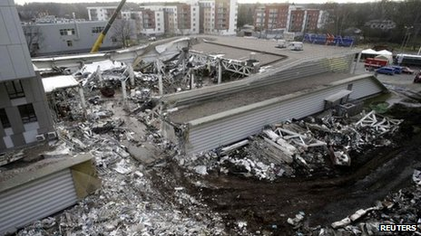The site of the collapsed supermarket in Riga, 25 November
