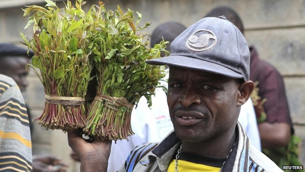 A vendor walks away with bundles of khat leaves from an open air wholesale market in Kenya's capital Nairobi - July 2013