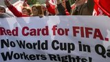 Members of Building and Wood Workers' International (BWI) and Swiss Unia unions protest to Fifa over workers' rights in Qatar