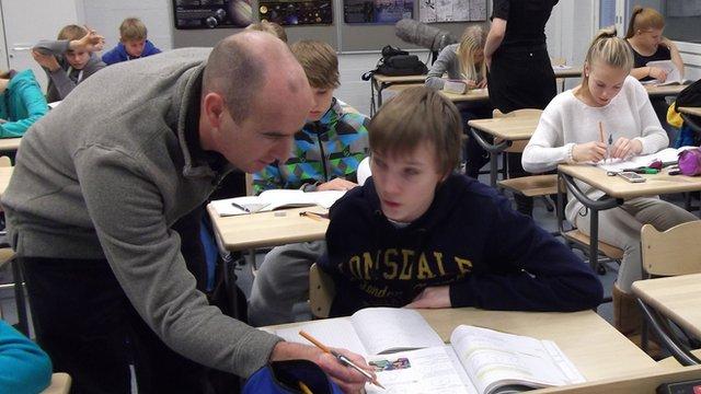 Bangor maths teacher Chris Parry visited a school in Vantaa, Finland before turning host