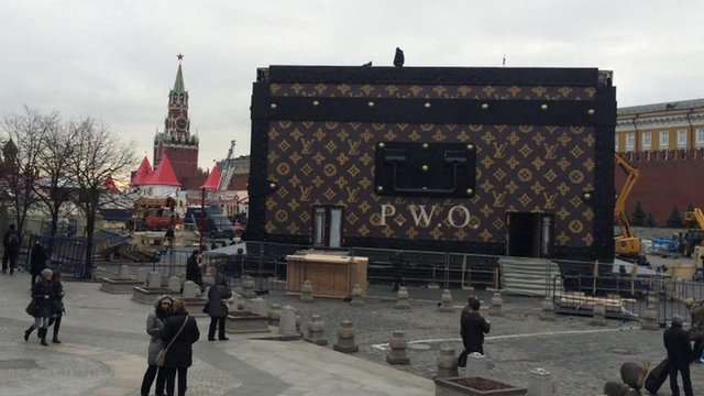 A giant pavilion in the shape of a Louis Vuitton suitcase in Moscow's Red Square