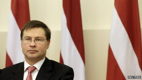 Prime Minister Valdis Dombrovskis of Latvia at a news conference (image from 8 November)