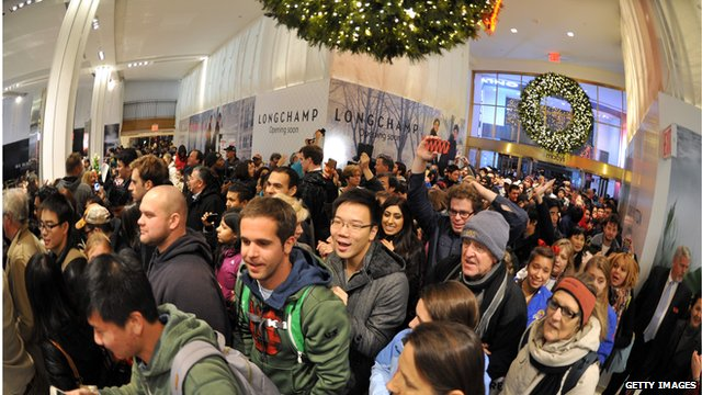 Shoppers in Macy's store