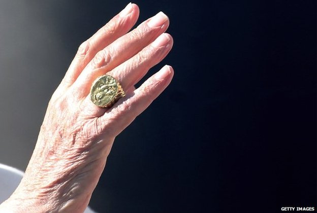Detail of Pope Benedict's hand on 27 February 2013