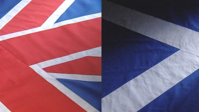 Union Jack and Scottish Saltire