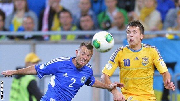 Carlo Valentini (left) of San Marino with Ukraine's Yevhen Seleznyov
