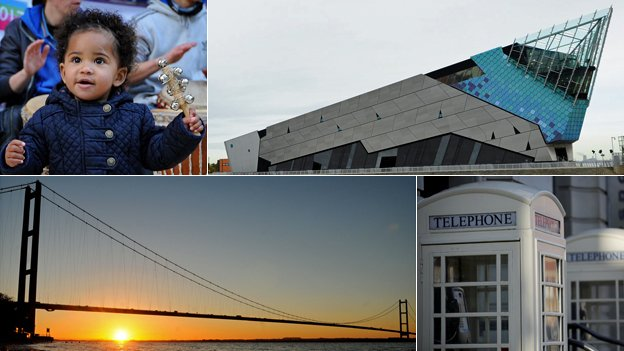 A kid with an instrument, the Deep submarium, the Humber Bridge and Hull's white phone boxes