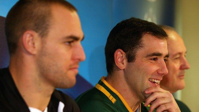 New Zealand captain Simon Mannering and Australia counterpart Cameron Smith