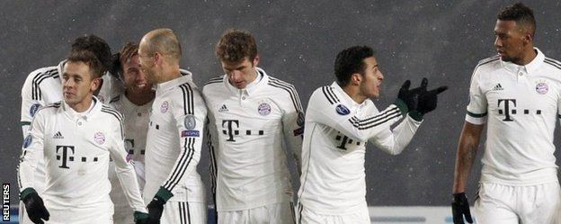 Bayern Munich's players celebrate a goal scored by Mario Gotze during their Champions League soccer match against CSKA Moscow
