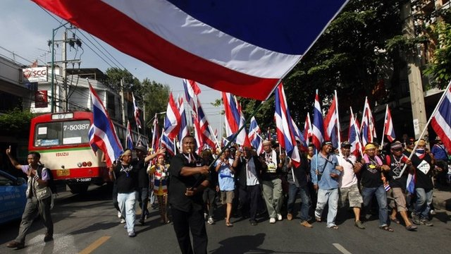 Thousands of anti-government protesters march in Bangkok