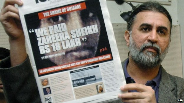 Tarun Tejpal with a copy of Tehelka