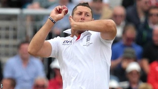 Tim Bresnan in Ashes action last summer