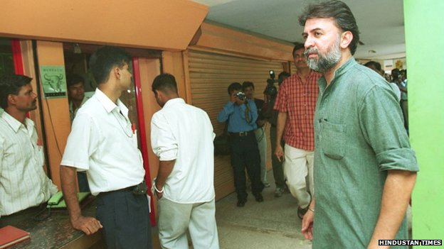 Tarun Tejpal outside Tehelka office
