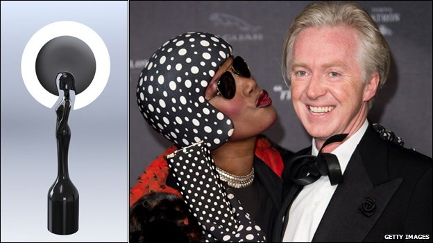 Philip Treacy's Brit Awards statue, and the designer with Grace Jones