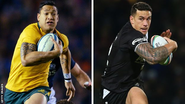 Cross code stars Israel Folau of Australia and Sonny Bill Williams of New Zealand