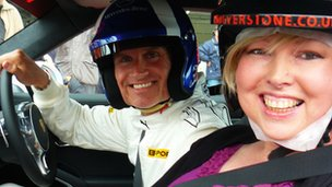 Helen Fawkes with David Coulthard