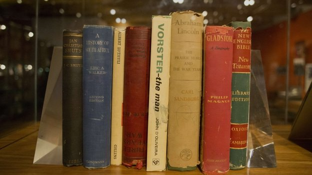 The books South Africa's Nelson Mandela had in his prison on Robben Island on display in Johannesburg, November 2013