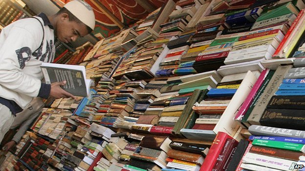 A man reading a Cairo book fair - 2007