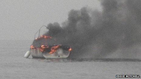 Boat on fire near Shoreham