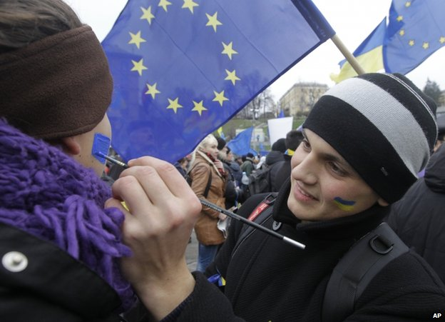 Pro-EU demonstrators in Kiev, 28 November