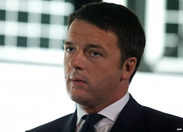 The mayor of Florence, Matteo Renzi, on a visit to London, 24 September