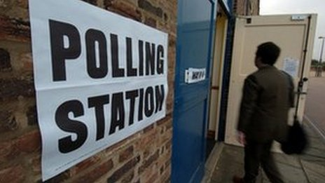 Polling booth in England