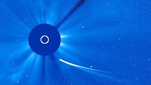 Comet ISON approaching the sun.