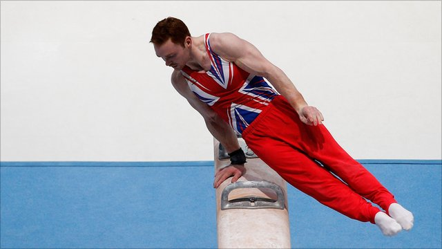 Britain's Daniel Purvis on the pommel horse