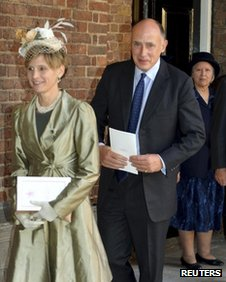 Jamie Pinkerton-Lowther and his wife at Prince George's christening