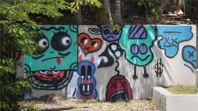 Graffiti on a wall inside the complex of a hotel in Queensland that was allegedly created by Canadian singer Justin Bieber